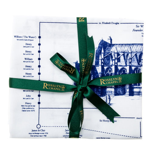 Rosslyn-Chapel-Lordly-Line-High-St-Clair-Tea-Towel-White-Blue-Ribbon