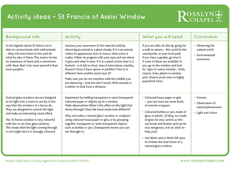 St Francis of Assisi window - Activity Ideas [PDF]