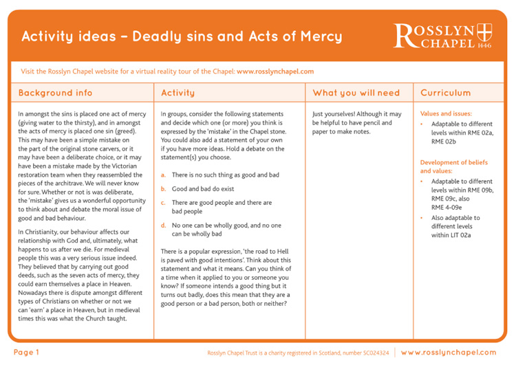 Seven Deadly Sins and Acts of Mercy Activity Ideas