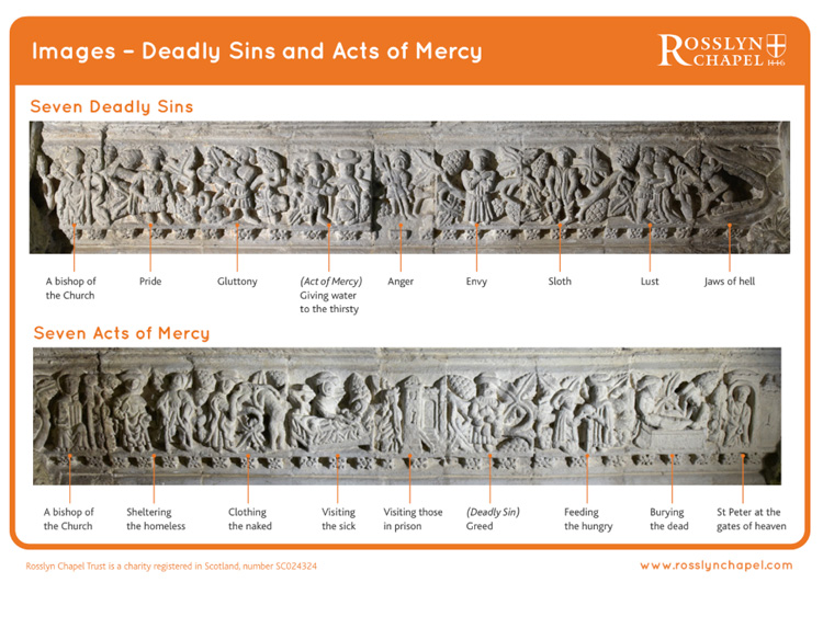 Seven Deadly Sins and Acts of Mercy Images